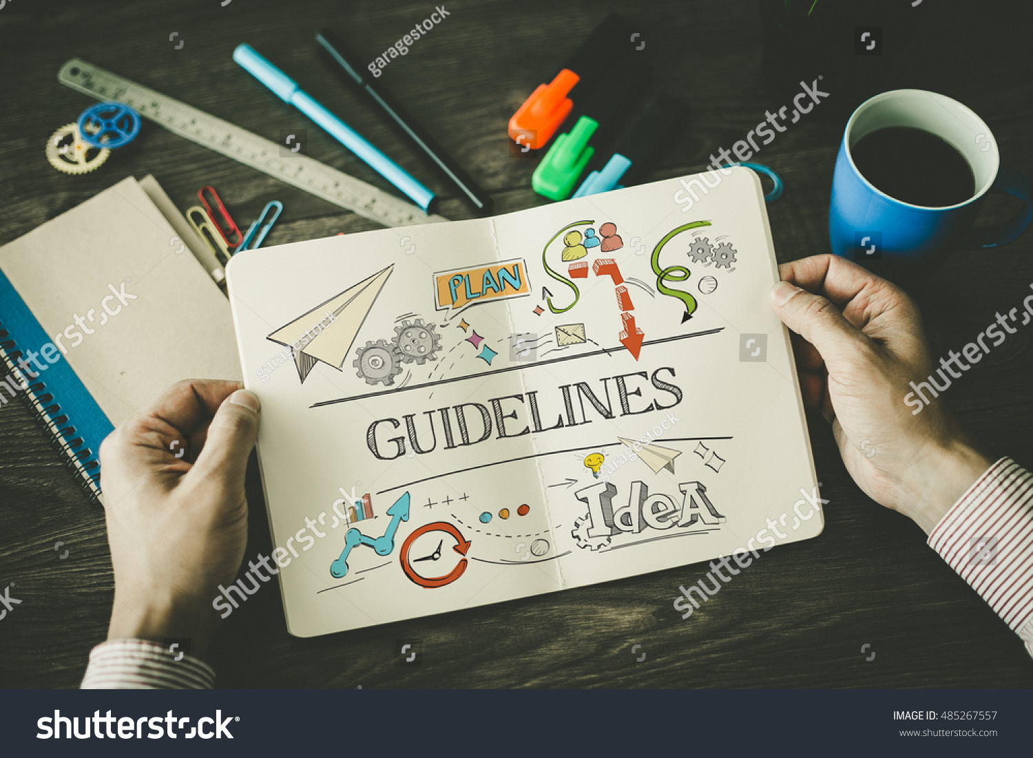 stock-photo-guidelines-sketch-on-notebook-485267557